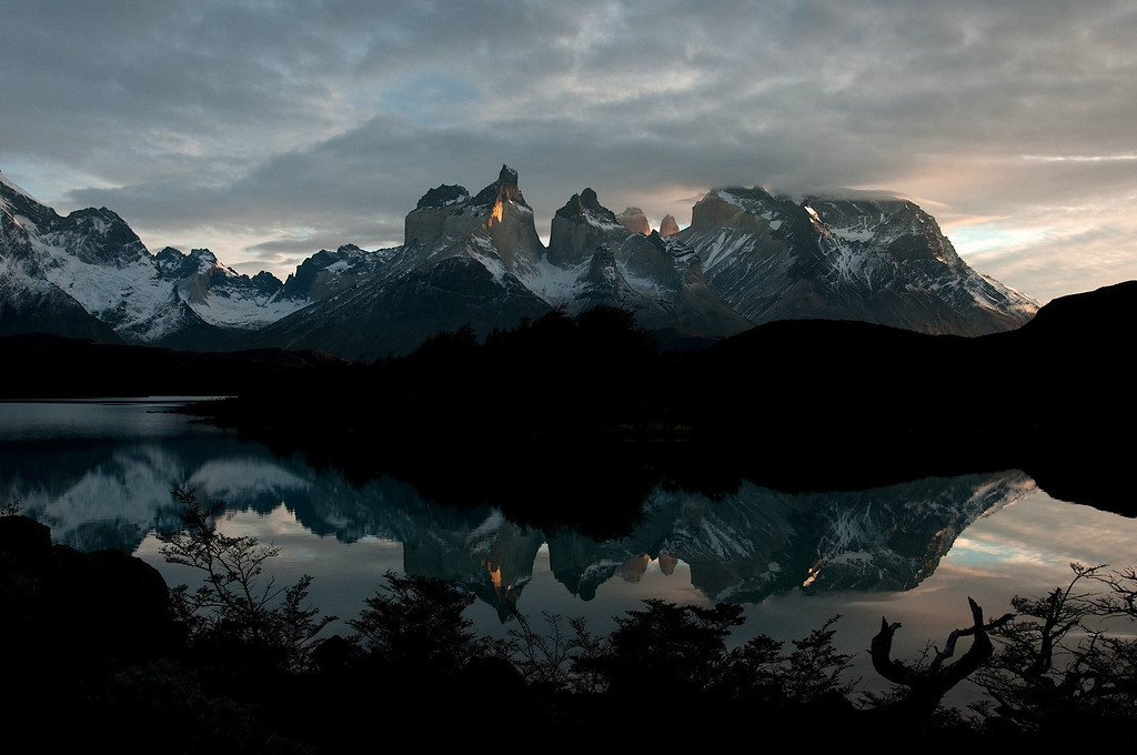 Dawn reflection at Lago Pehoe in Torres del Paine National Park. Chilean Patagonia.