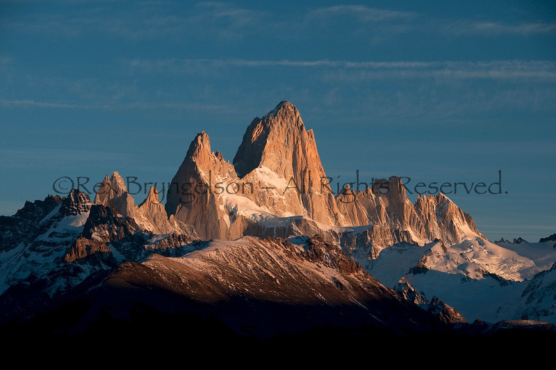 Dawn alpenglow on Cerro Fitzroy. Argentine Patagonia.
