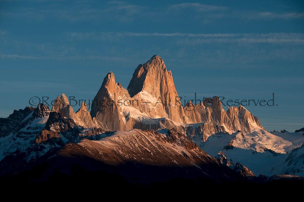 Dawn alpenglow on Cerro Fitzroy. Argentine Patagonia.