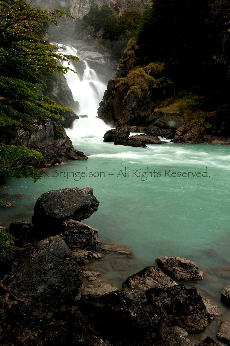 El Salto near Cochrane and the Rio Baker. Chilean Patagonia.