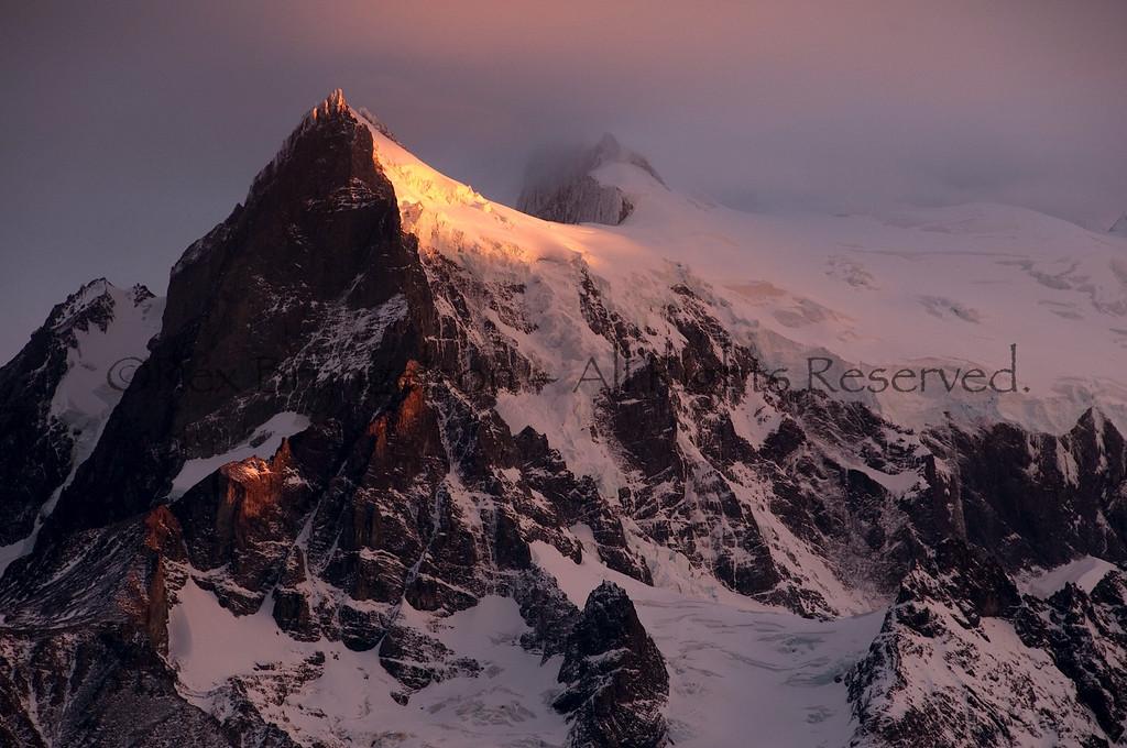 First light illuminates Cerro Paine Grande in Torres del Paine National Park.