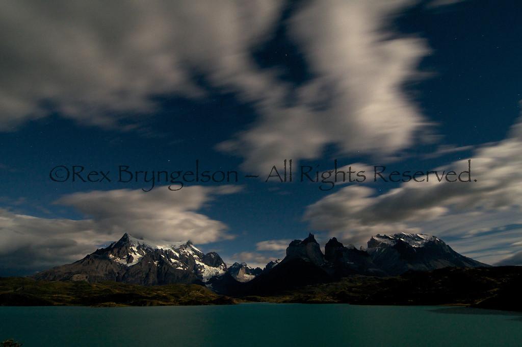 Moonlight scene in Torres del Paine