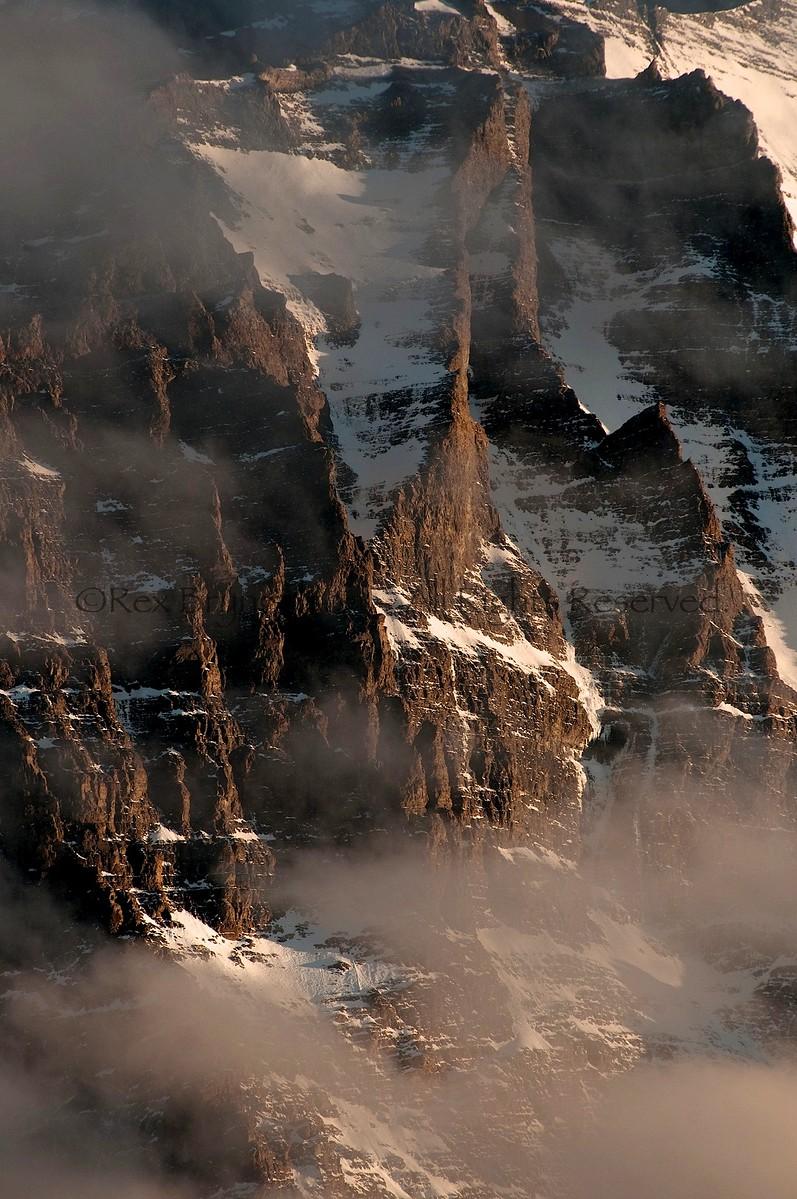 Ridgelines on the SE face of Monte Almirante Nieto. Torres del Paine National Park, Chile.