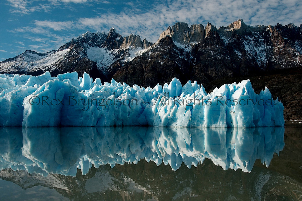 The terminus of the Grey Glacier at Lago Grey. Torres del Paine National Park, Chile.