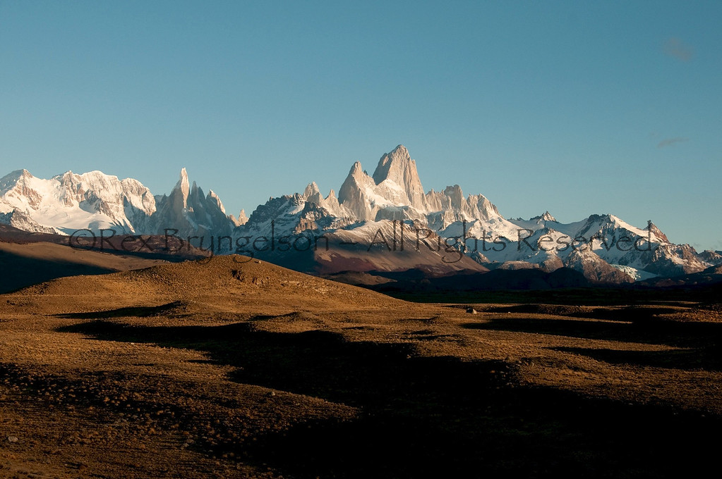Early light on the Fitzroy Range in Los Glaciares National Park.  Argentine Patagonia.