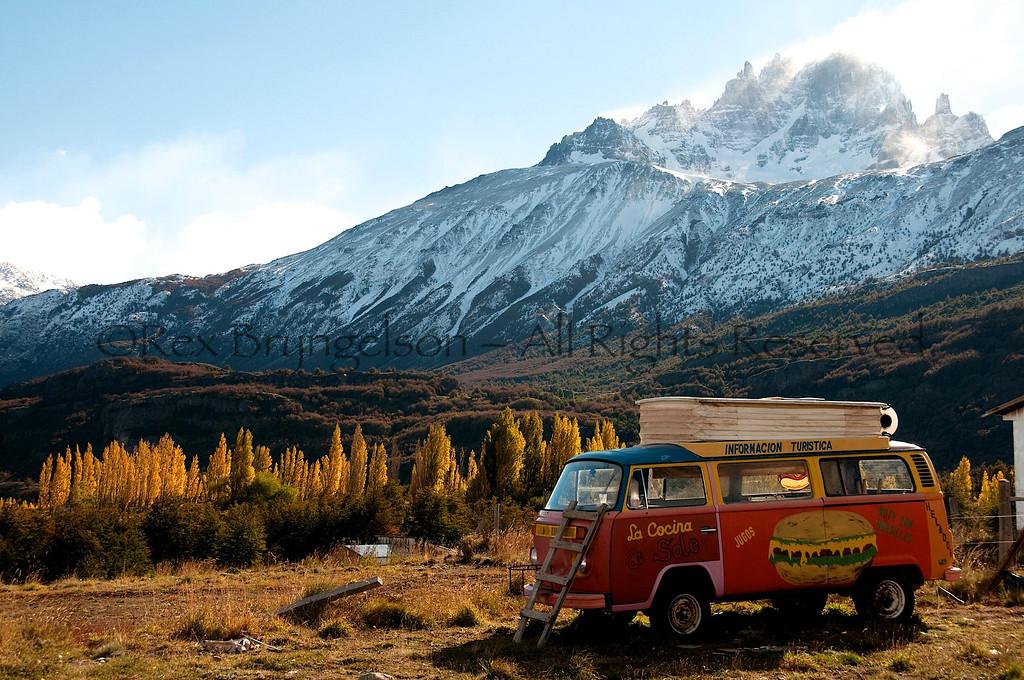 Sole's original Churrasco Bus at Villa Cerro Castillo, Chilean Patagonia