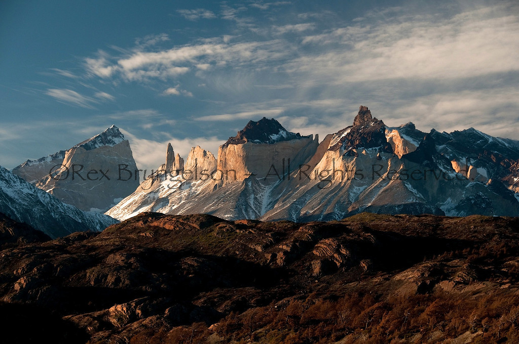 View of the Cuernos del Paine for Lago Grey. Torres del Paine National Park.