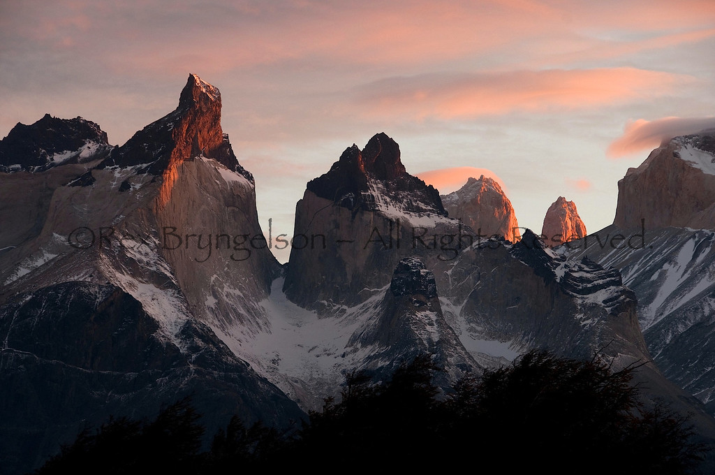 Dawn in Torres del Paine National Park. Chilean Patagonia.