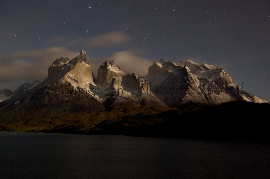 Moonlight scene in Torres del Paine National Park