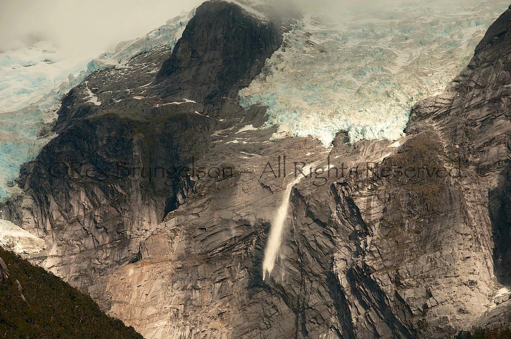 Avalanche in Valle Exploradores. Chilean Patagonia.