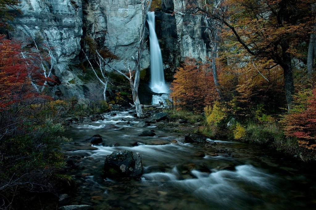 Waterfall in Los Glaciares National Park.  Argentine Patagonia.