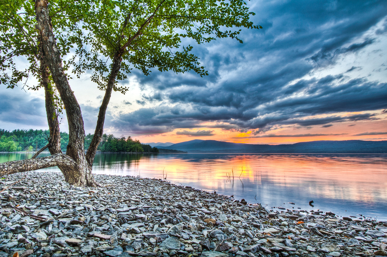 Sunset at Ashokan Reservoir, Ulster County, New York, USA