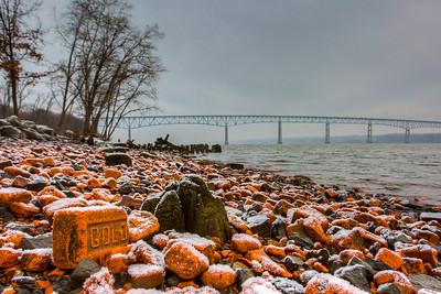 Bricks, Hudson River, Charles Rider Park, Ulster, New York, USA