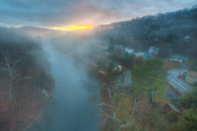 View from Rosendale Trestle during foggy sunset
