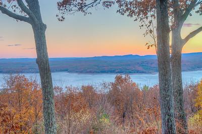 Ashokan Reservoir and Shawangunk Ridge, seen from Spencer Road in Glenford, New York
