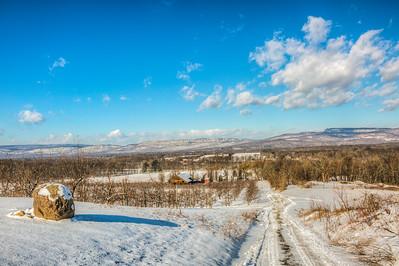 Route 208 near Dressel Farm, with Shawangunk Ridge, New Paltz, New York, USA