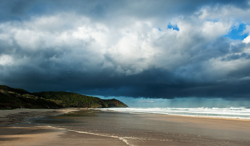 Storm clouds over Seven Mile Beach, near Byron Bay, New South Wales.
