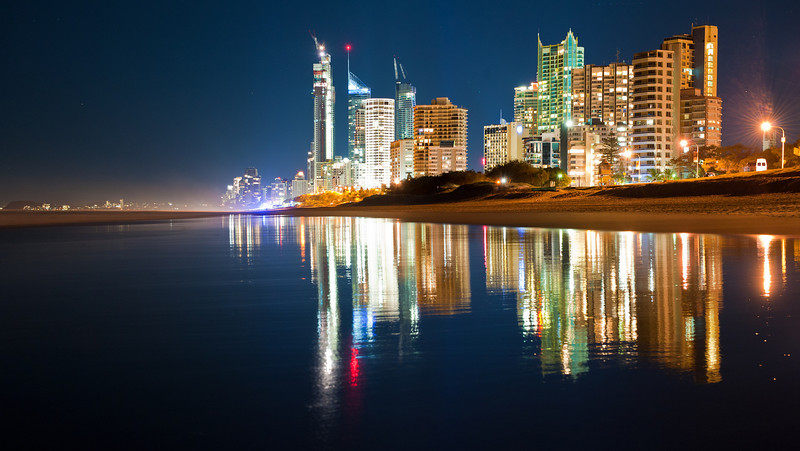 Surfers Paradise beach reflections, Gold Coast, Queensland.