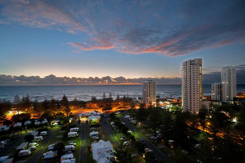 Main Beach sunrise, Queensland. Composite Image.