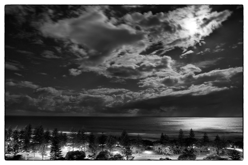 Moonlight over Main Beach, Gold Coast, Queensland.