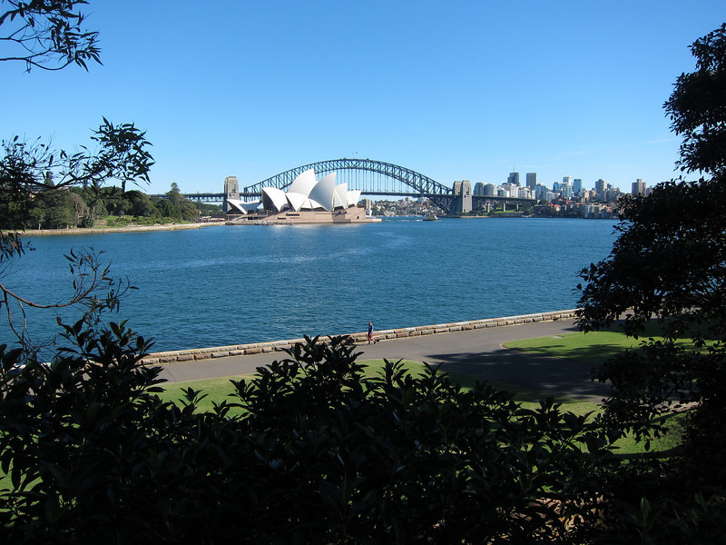 Sydney Harbour Bridge from Mrs Macquarie's Point, directly east of the Opera House.