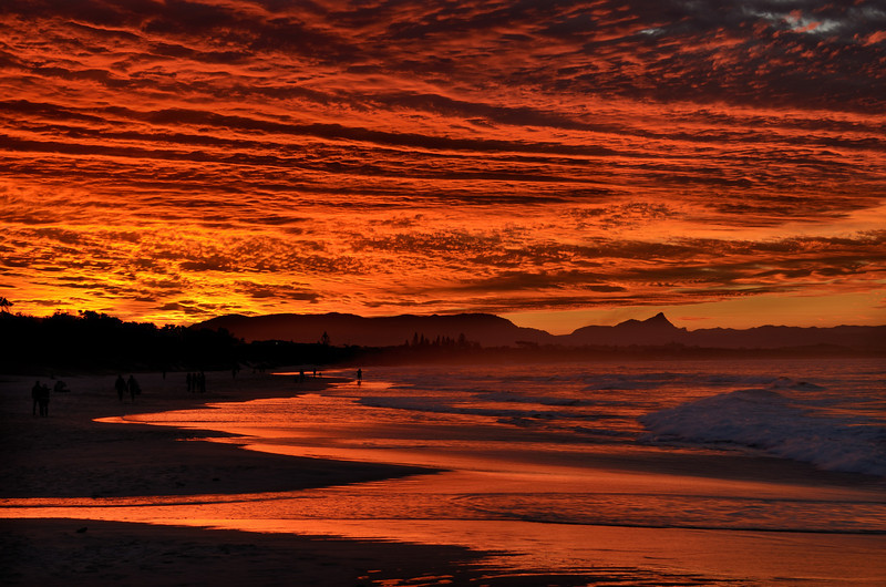 Byron Bay sunset, Mt Warning in the background. New South Wales.