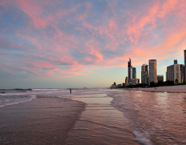 Surfers Paradise, wave trail, Gold Coast, Queensland.
