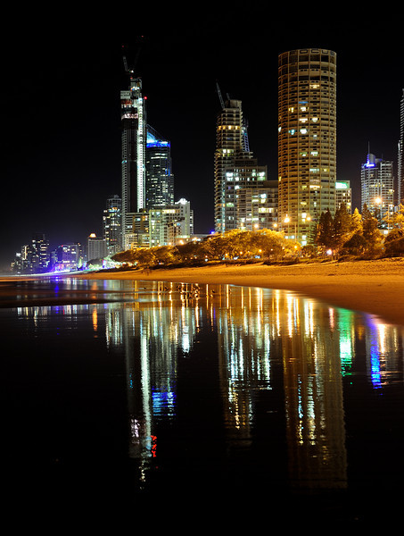 Surfers Paradise night reflections, Gold Coast, Queensland.