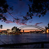 Sunset over Sydney Opera House and Harbour Bridge. From Mrs Macquarie's Point, Sydney.
