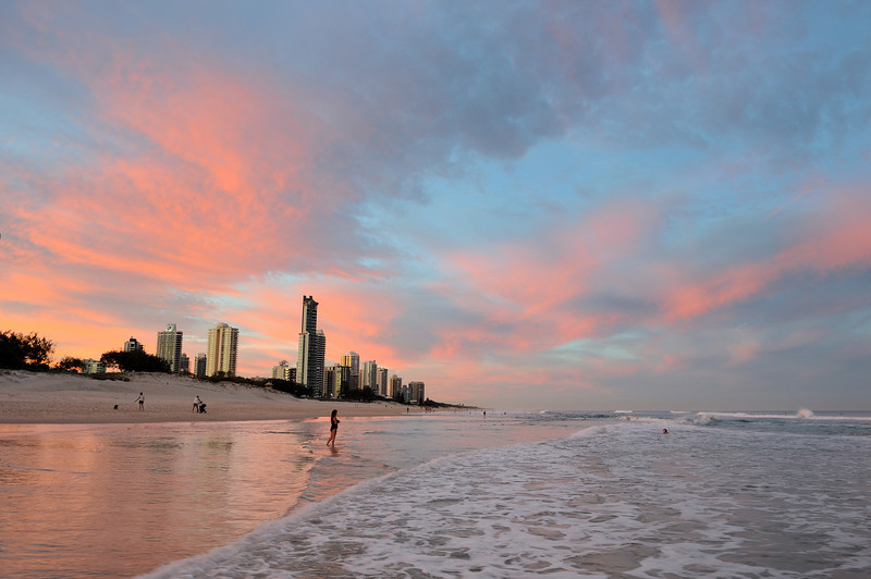 Surfers Paradise looking North to Main Beach, Gold Coast, Queensland.
