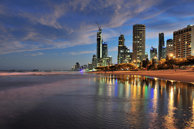 Surfers Paradise beach twilight, Gold Coast, Queensland.