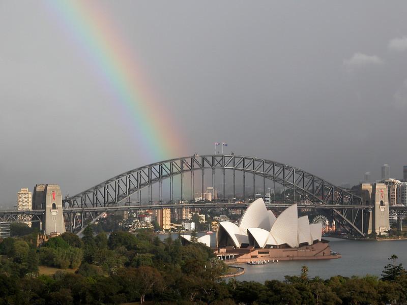 Sydney Harbour Bridge Rainbow. 1st December 2002.
