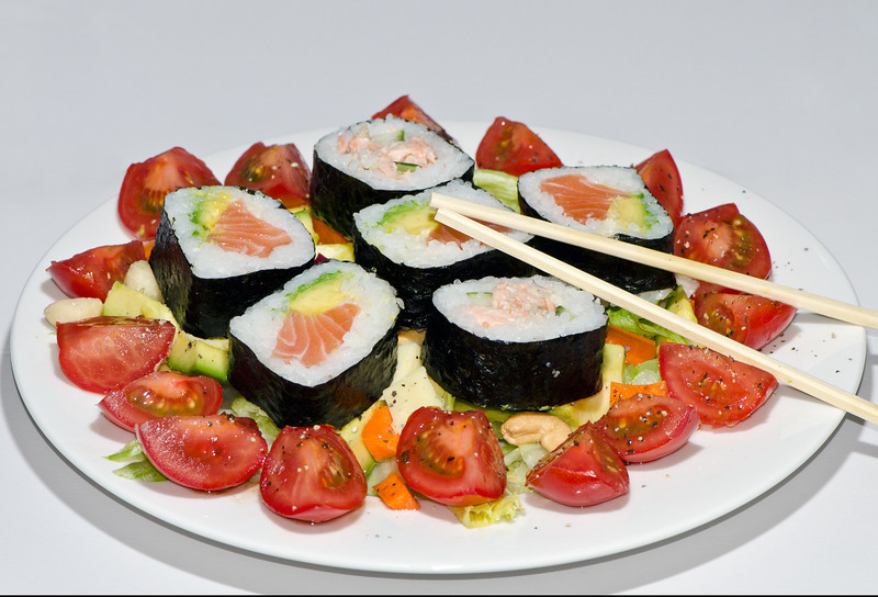 Sushi salmon salad dinner, Queensland.