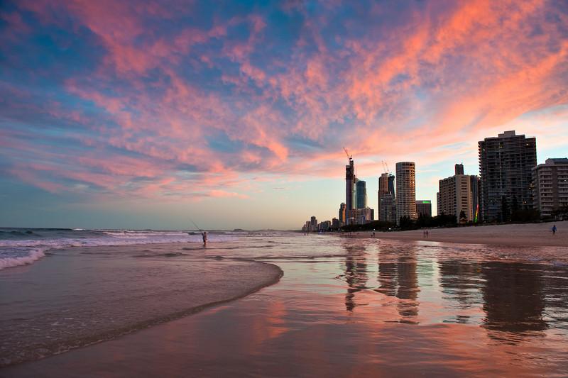 Surfers Paradise sunset, Gold Coast, Queensland.