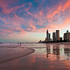 Surfers Paradise sunset, Gold Coast, Queensland.