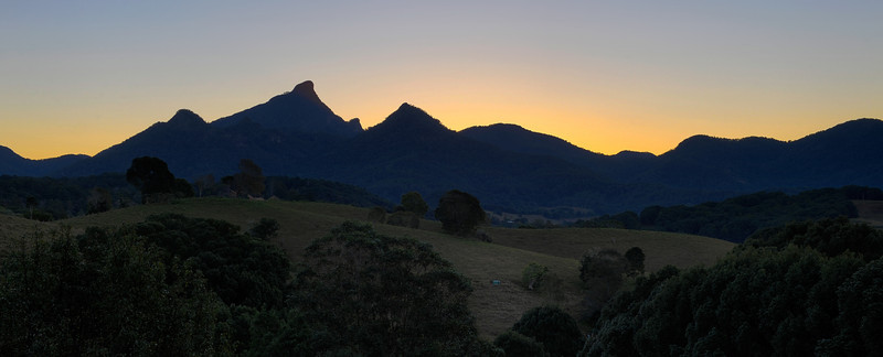 Sunset Mt Warning, New South Wales. <br /> HDR image.<br /> Photographed from near Uki.