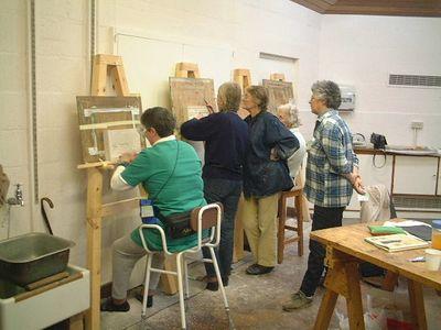 Stonecarving class, tutor Celia, Denman College 2002