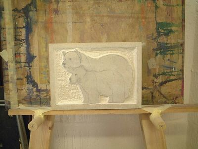 Early stages of the bear plaque