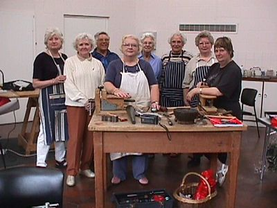 Silversmithing class, Denman college July 2000