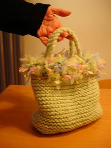 Knitted, dual purpose Bognor Bag, fully lined with hand dyed cotton, suitable for carrying light items, or nothing at all.  As an alternative, spare toilet rolls could be stored within.