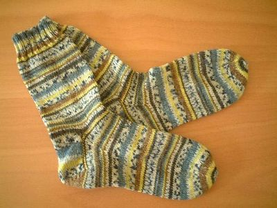 My first pair of socks, knitted using a ball of Opal yarn