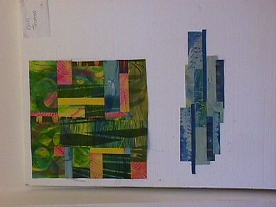 The beginnings of work done using fabric painted at Rolduc, Belgium, in a workshop with Elizabeth Busch