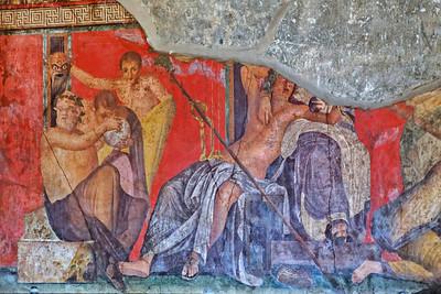 Fresque d'un salon de repos de la villa des Mysteres figurant l'une des étapes de l'initiation dionysiaque. On y voit Silène, Dionysos et sa mère, Sémélé.