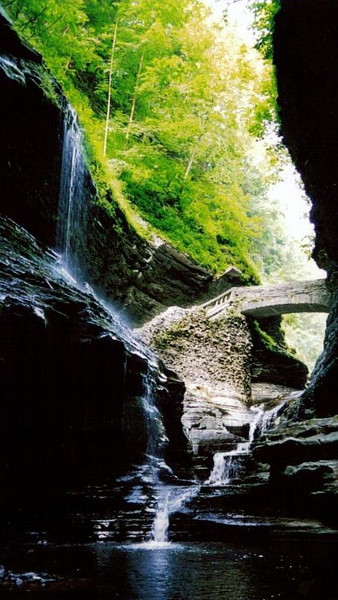 "Watkins Glen, NY - Gourge photo ""Stone Crossing"""