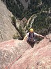 and Eldorado multi pitch trad work  about 700 feet up here