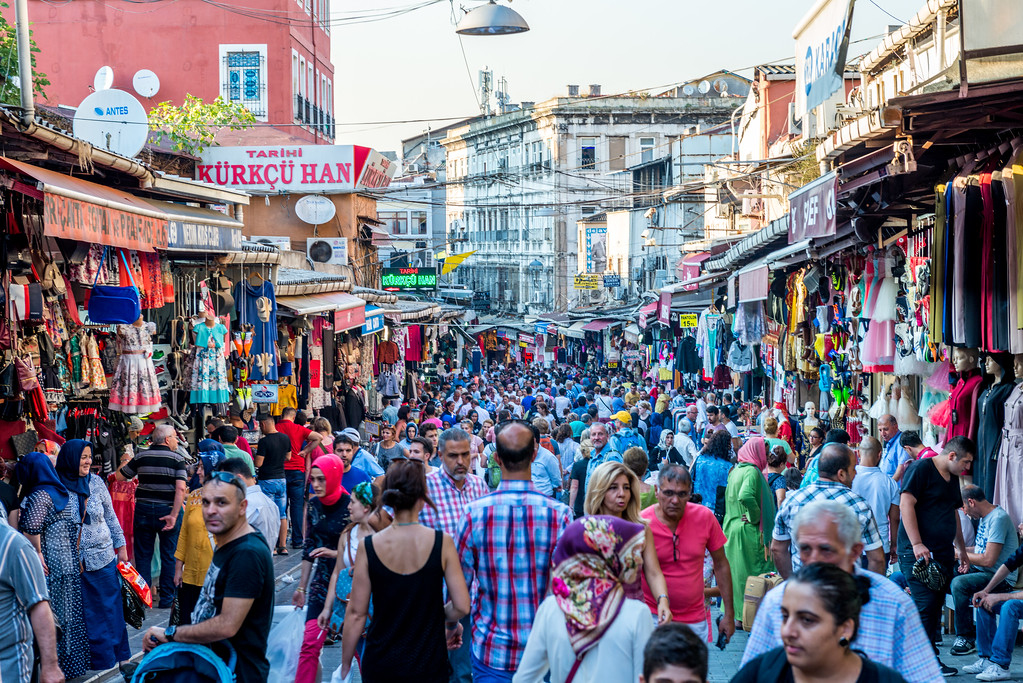 Crowds in the streets in Istanbul