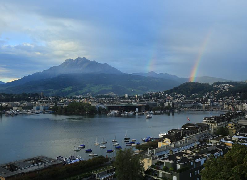 Double rainbow between Mt Pilatus and Lake Lucerne - Switzerland