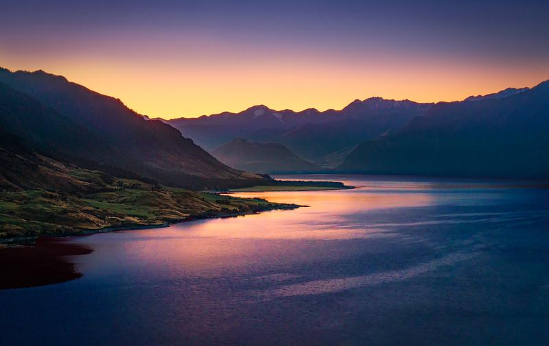 First Trace of Sunrise Over Lake Hawea