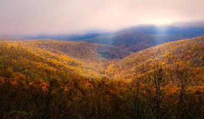 Sunlight thru the Fog - Ozark Mountains, Arkansas
