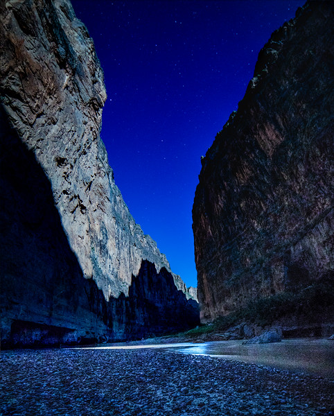 """""""Moon Shadow"""" of the opposing canyon wall, cast by a full moon illuminating Saint Elena Canyon - Big Bend National Park"""